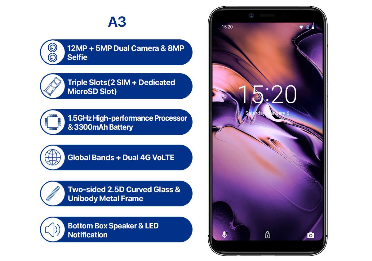 UMIDIGI A3 – Китайский бюджетный смартфон по цене $79,99 – Полные характеристики и сроки продаж
